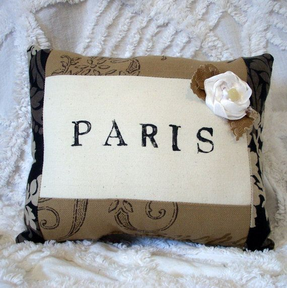 Paris Pillow Handmade Bedroom Pillow French Painted Black Tan Ivory Linen Handcrafted Home Decor Cream Living room Pillow cushion