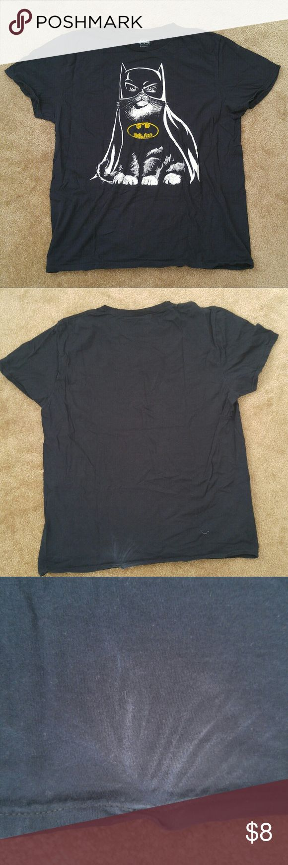 Batman Car T-Shirt Bat Cat shirt.  Some damage on back (see photo). Possibly happened during the spin cycle of a high efficiency washer.  Perfect for a lazy Halloween costume.  Smoke/pet free home. Batman Tops Tees - Long Sleeve