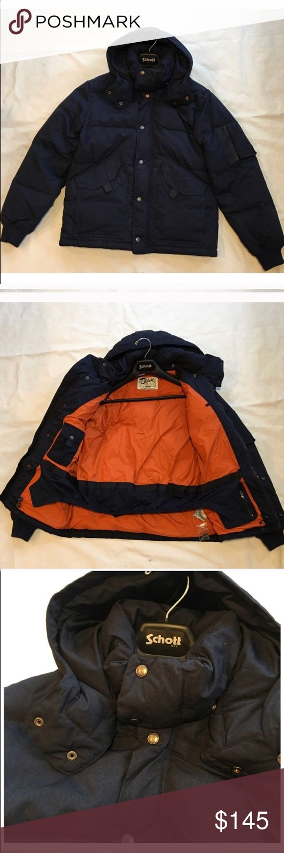 """Schott NYC Down Puffer Jacket in Navy Blue Coat Schott NYC Down Puffer Jacket in Dark Navy Blue not light  $350 retail new with tags! Super nice! High quality! True to size Warm Puffer with detachable hood, two inside pockets, Long sleeves, Front pockets Medium: armpit to armpit 23"""" length  27"""" Schott NYC Jackets & Coats Puffers"""