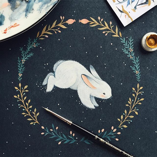 Acrylic white rabbit with wreath