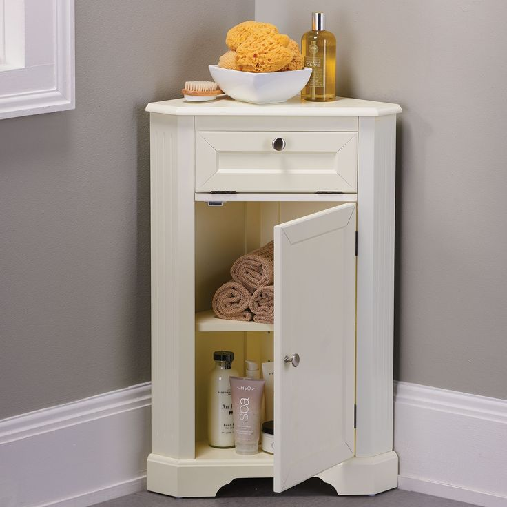 Maximize storage space in small bathrooms with our Weatherby Corner Storage Cabinet. Our Weatherby Bathroom cabinets provide excellent storage solutions for bathrooms with limited space or unique fixtures. The Weatherby Corner Cabinet tucks into a corner so it takes up very little room.
