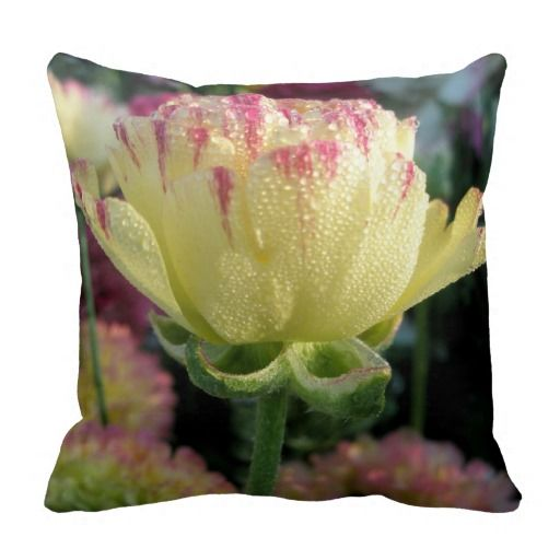 Beautiful pale yellow & pink floral cushion