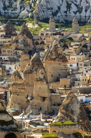 Goreme in Cappadocia, Turkey. After Istanbul we went to Cappadocia and we had an amazing time there. We walked across the beautifull valleys, witnessed it's amazing rock structures, learned about ceramics and oh the food. This place is also famous for its hot air balloon rides. So, you should check that out #turkey