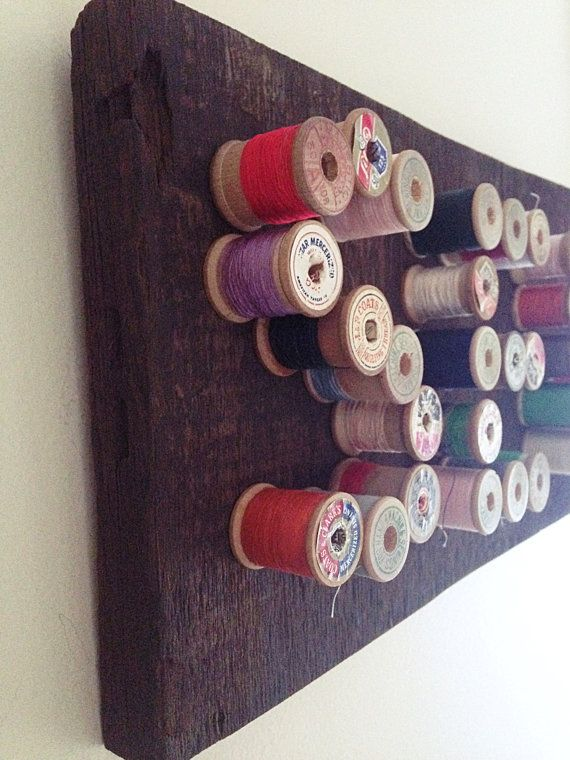 SEW Vintage Wooden Spool Art on Barn Wood Craft Room Decor