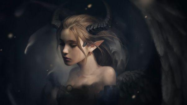 Wallpaper elf, horns, fantasy, art