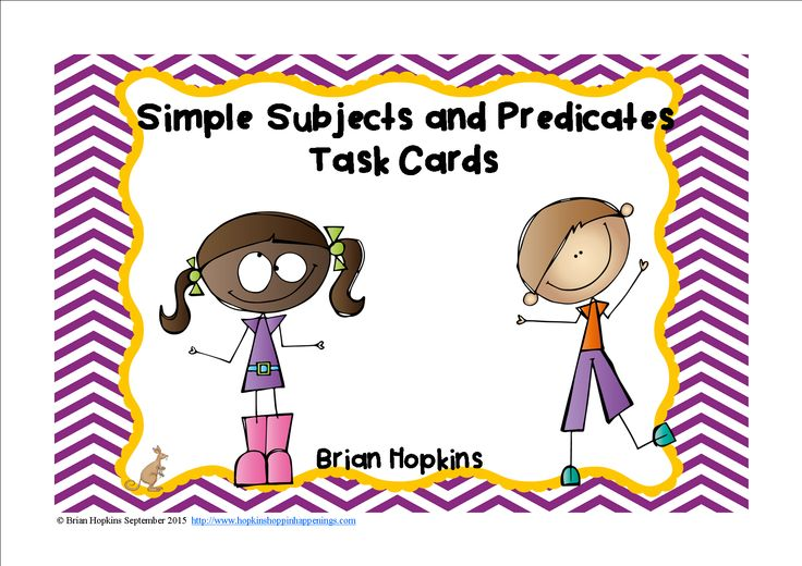 "Simple Subject and Predicate Task Cards is perfect for a writing center or station, to play the game ""Scoot"", for early finishers, cooperative group activities like ""Quiz, Quiz Trade"", etc. There are 24 task cards in all. Each card ask for either the simple subject or the simple predicate. It includes a recording sheet, answer key, and suggestions for use."