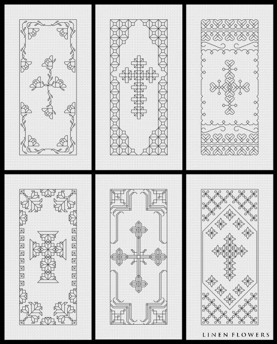 Blackwork Crosses 3- #182    (c) 2012 Angie Kowalsky/Linen Flowers Designs    *Chart Download For Personal License Only- Not For Resale Or Sharing.     http://linenflowers.com/182lf.htm