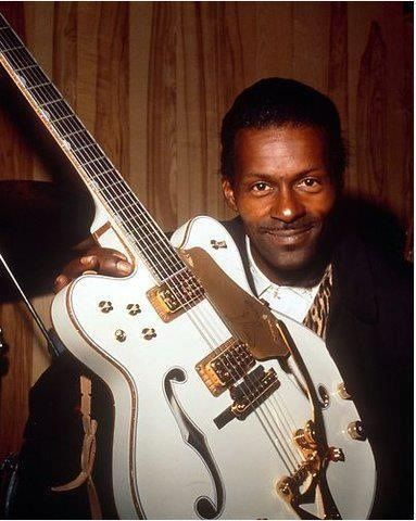 Chuck Berry with a White Falcon. It doesn't get much cooler than this.