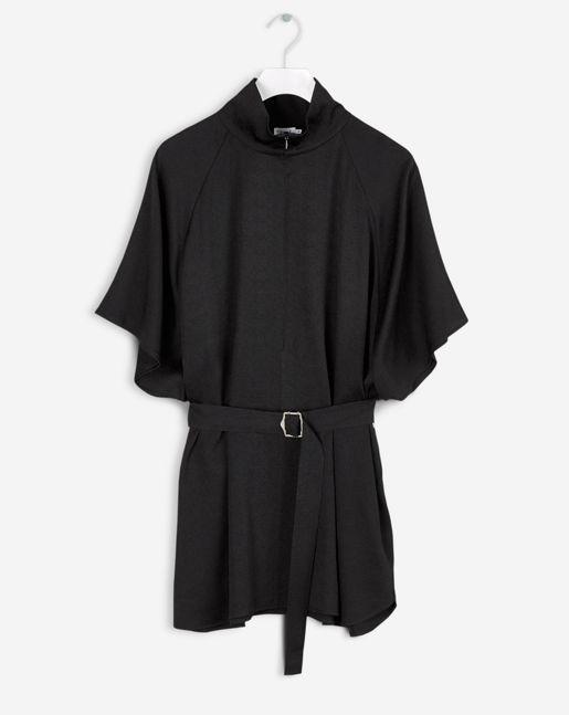 Zip Collar Belt Top Black