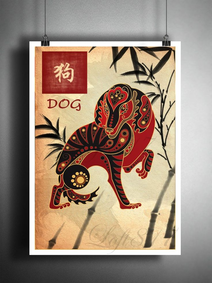 Chinese Zodiac Dog, Asian wall decor, Asian wall art, Japanese ink painting