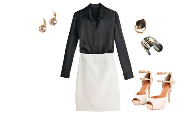 Mix clássicoA saia reta usada com uma camisa é aposta certeira. O segredo é ficar de olho nos tecidos. A saia branca deve ser estruturada e ter forro reforçado. Já a camisa deve ser feita de material levinho e com brilho.   CAMISA Hirondelle (R$ 529), SAIA Nem (R$ 348), BRINCOS Korpusnu (R$ 80), PULSEIRA Turpin (R$ 237), ANEL Ring Lovers (R$ 149,90), SANDÁLIAS Toli (R$ 380)
