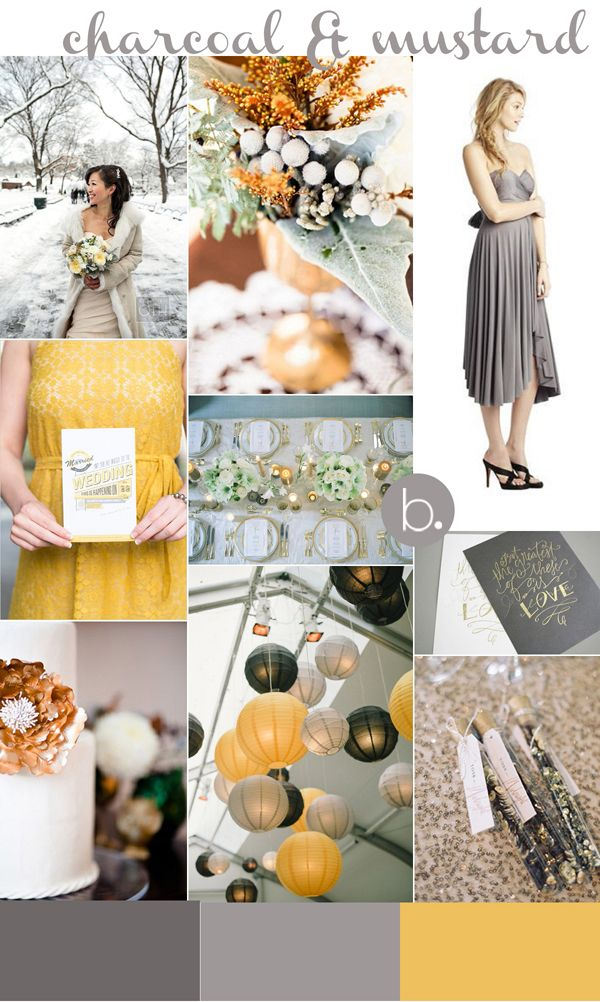 Charcoal  Mustard Inspiration for Twobirds Bridesmaid
