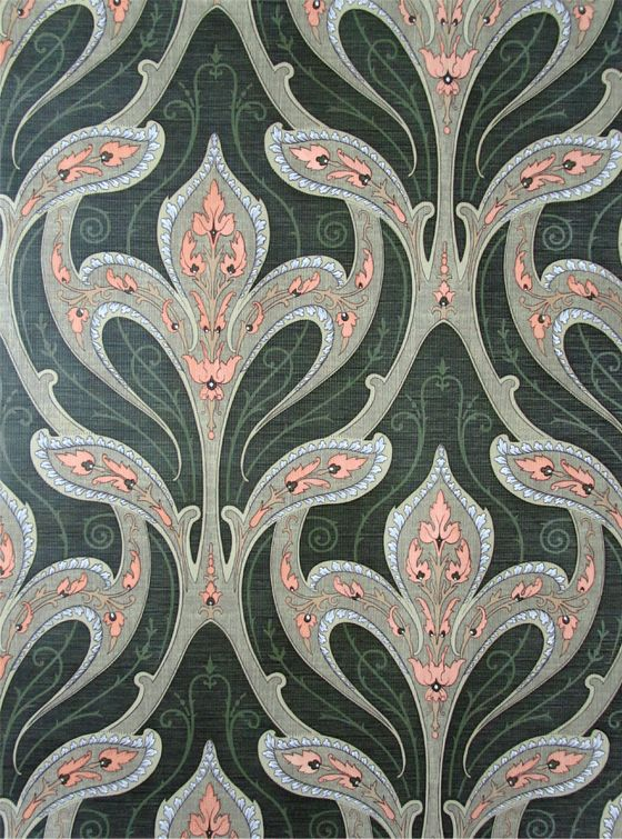 Art Nouveau Vintage Wallpaper SANDERSON  Beautiful  green, blue, pink color palette in a wonderfully scaled pattern