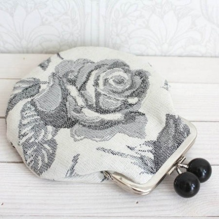 Vintage Upholstery Fabric with Upcycled Linen Lining.  This sweet kiss-lock coin purse carries it's history, while remaining functional and beautiful.