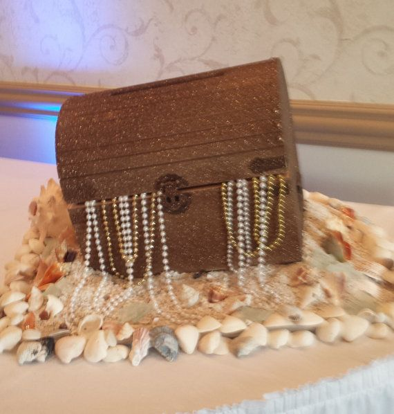 Absolutely stunning beach wedding treasure chest card box.  This is a perfect accent to your themed wedding, under the sea or mermaid birthday party.  Guests will love the charm as they add their cards and envelopes to the box by LillianMarieDesigns on Etsy