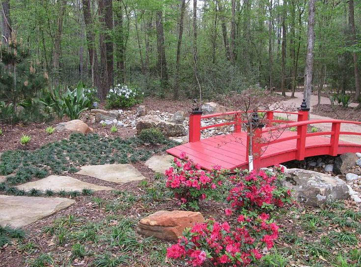 A Touch Of Red For Your Beautiful Garden In The Form Of A Cool Garden Bridge