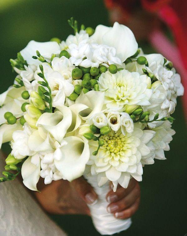 White Dahlias, White Freesia + Buds, White Calla Lilies + White Stephanotis Bridal Bouquet