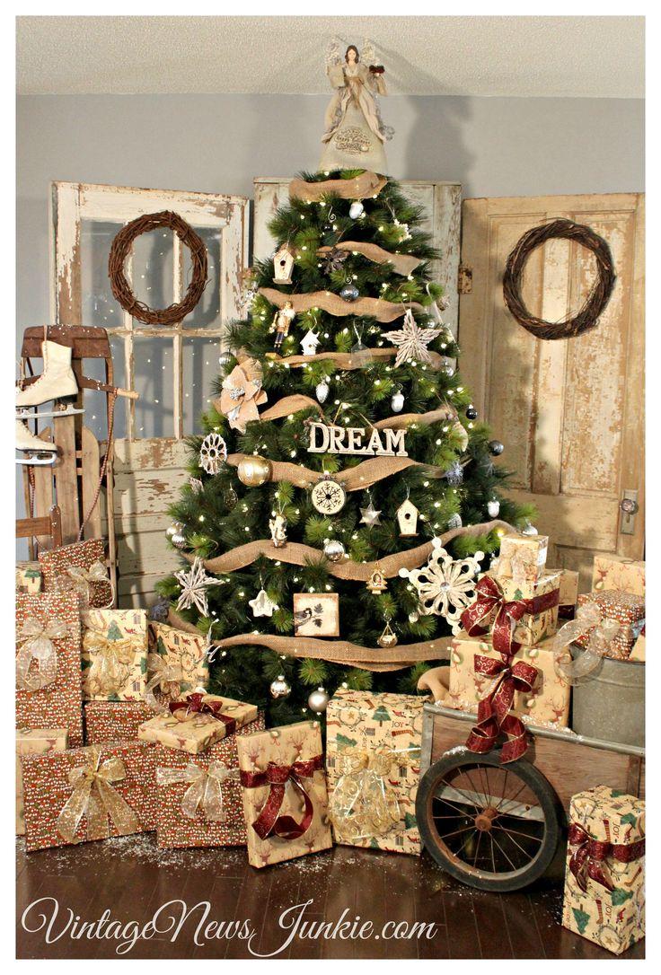 Holiday Rustic Vintage Christmas Tree Tree Reveal Rustic Christmas
