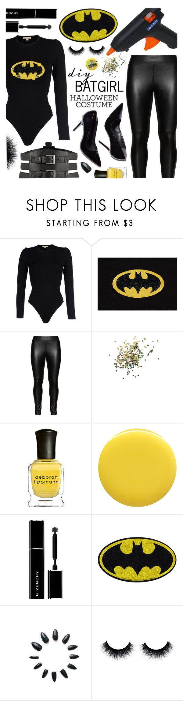 """DIY Batgirl Halloween Costume"" by pastelneon ❤ liked on Polyvore featuring Michael Kors, Studio, Topshop, Deborah Lippmann, Givenchy, Kiki de Montparnasse and plus size clothing"