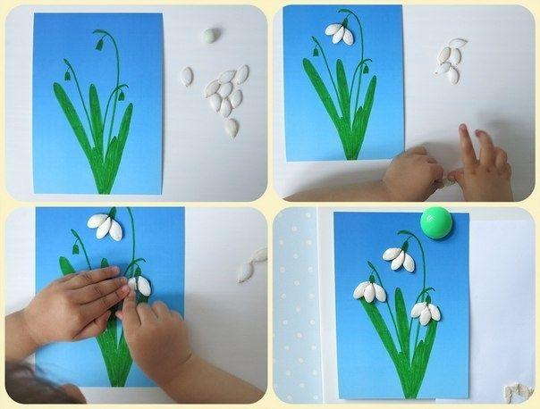 Snowdrops of pumpkin seeds - Подснежники из тыквенных семечек - Поделки с детьми   Деткиподелки