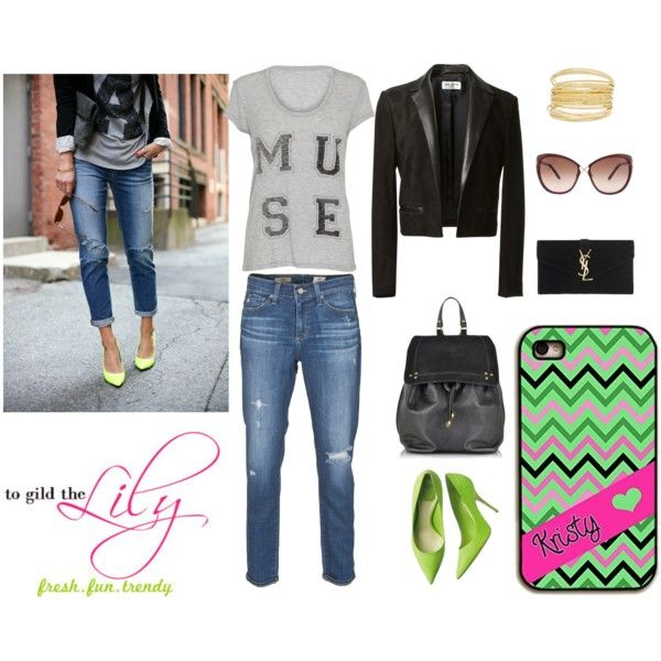 Back to school outfit – chartreuse pumps – Monogrammed Iphone cases