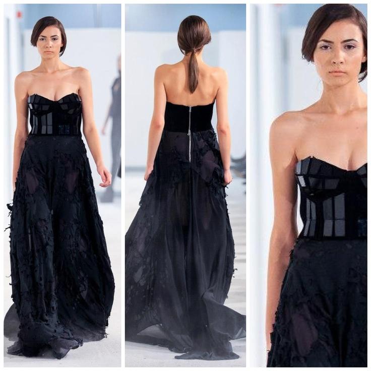 Black ensamble: long torn fabric skirt + neoprene bustier with plexiglass details @ FE[MALE]