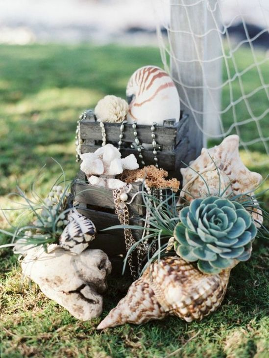 Nautical Beach Wedding Style » pearls, shells, succulents, and chain