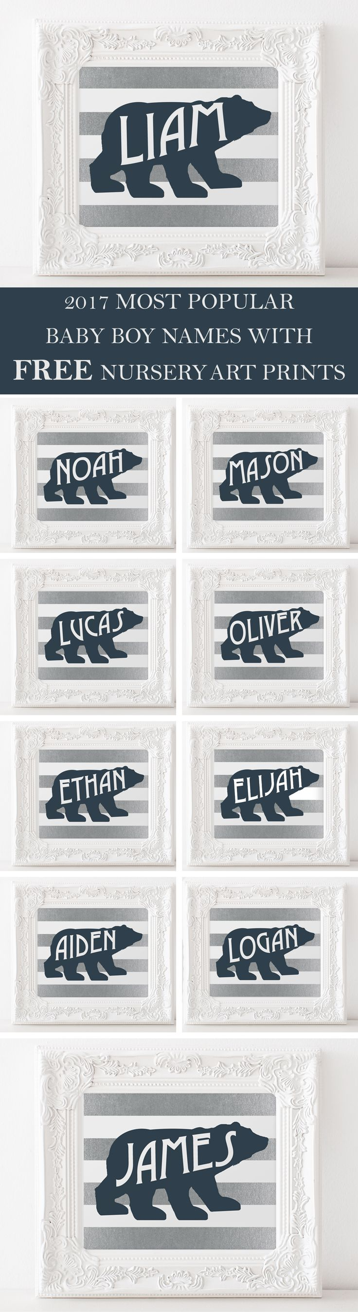 Top ten baby boy names for 2017 are in. Download your free name nursery art featuring one of the names today. Prints are woodland themed.