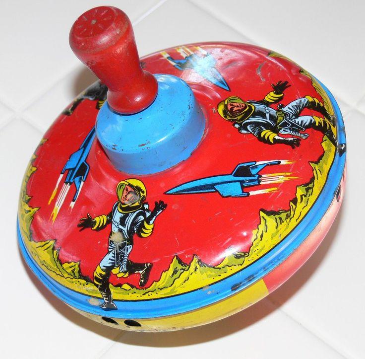 Retro Top Toys : Vintage collectible astronaut rocket rocketship tin metal