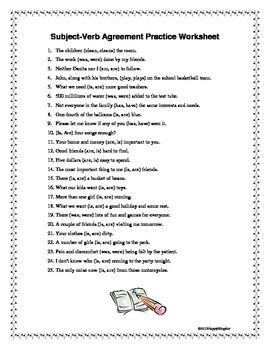 Worksheets Subject Verb Agreement Worksheets With Answers 17 best images about subject verb agreement on pinterest simple practice worksheet with key