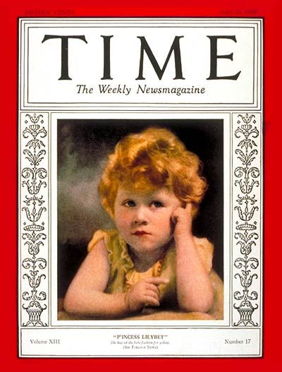 The young Princess Elizabeth II (Elizabeth Alexandra Mary) (21 Apr 1926-living2015) of York, UK by unknown photographer on the cover of Time Magazine 29 Apr 1929. She was the 1st child of the then Prince Albert (Albert Frederick Arthur George) (future King George VI) (14 Dec 1895-6 Feb 1952) Duke of York, UK & wife Elizabeth Bowes-Lyon (Elizabeth Angela Marguerite) (Queen Mother) (4 Aug 1900-30 Mar 2002) Scotland.