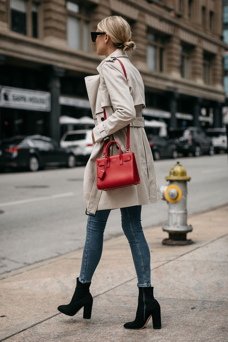 Fashion Jackson Club Monaco Trench Coat Denim Skinny Jeans Black Ankle Booties Saint Laurent Sac De Jour Red 2