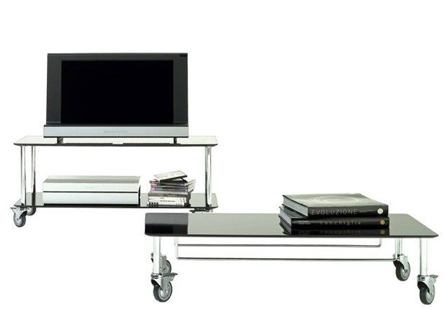 Laminate TV cabinet with casters MOBY by DE PADOVA design Marco Zanuso