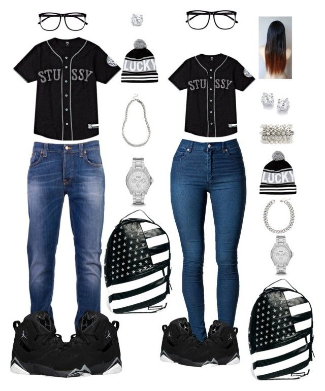 """""""Brother an sister!"""" by riahh-926 ❤ liked on Polyvore featuring Stussy, H&M, Charlotte Russe, River Island, FOSSIL, Sprayground, Cheap Monday and Nudie Jeans Co."""