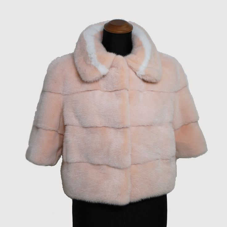 We love this baby pink mink fur small jacket!