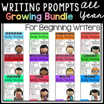 This pack is great for beginning writers or struggling writers in kindergarten and in first grade to build confidence in writing. Writing prompts, Kindergarten Writing, First grade writing, Writing journal.
