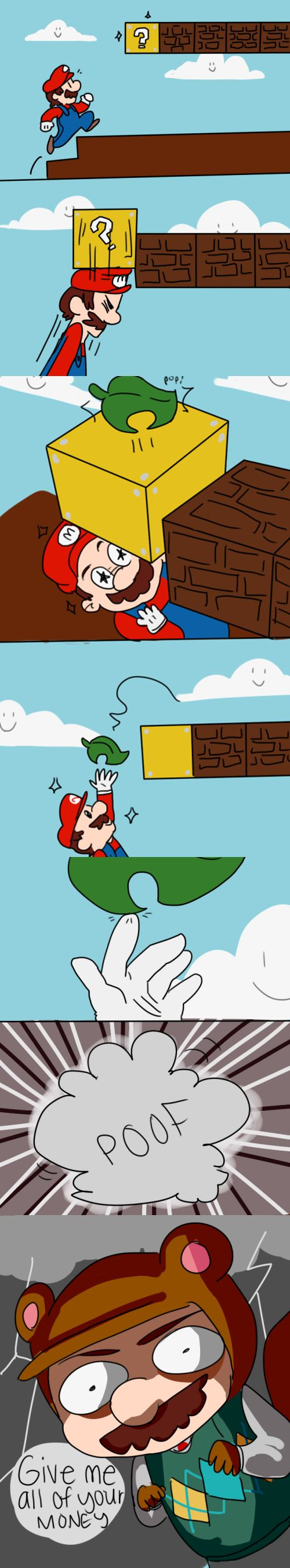 Animal Crossing & Mario.---Lol! Mario actually hits the bricks with his fist though, not his head.