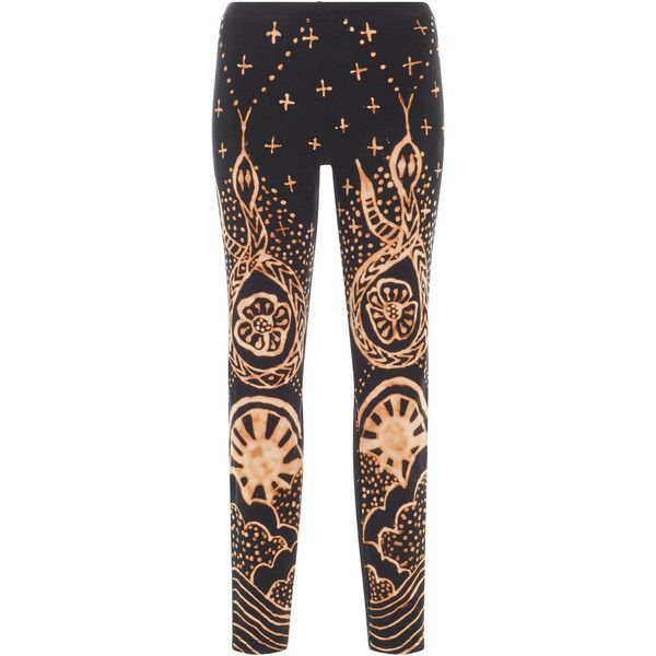 Anna Sui Brass Arrow X Anna Sui Infinity Snake Legging ($185) ❤ liked on Polyvore featuring pants, leggings, black, skinny leggings, skinny leg pants, snake pants, snake leggings and print pants