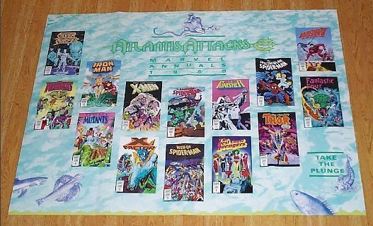 This scarce 1980's Marvel Comics comic shop dealer's promotional promo poster shows various 1989 Marvel Annual covers, and it shows the following super-heroes: The X-Men (Wolverine, Rogue, etc), the Avengers (Captain America, etc), the Silver Surfer, the Invincible Ironman with Namor the Submariner, Web of Spiderman, The Punisher vs Moon Knight, Daredevil, the Mighty Thor, the West Coast Avengers, X-Factor, and the Fantastic Four.