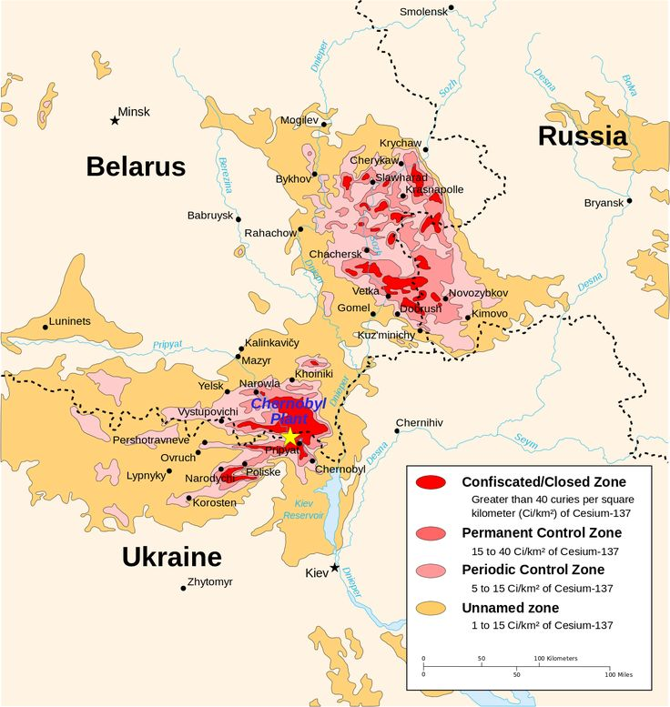 1996 map of the Chernobyl radiation zones, originally from the CIA Factbook.