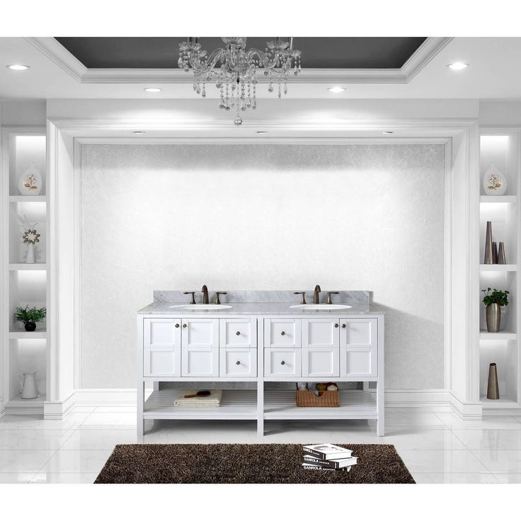 Picture Gallery Website Virtu USA Winterfell inch Round White Marble Double Bathroom Vanity Set Black espresso finish square Size Double Vanities