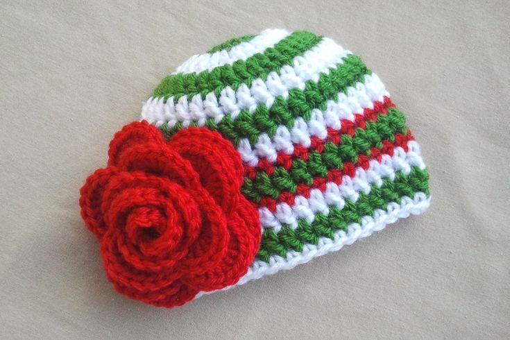Christmas Baby Hat, Christmas Newborn Hat, Crochet Flower Hat Baby Girl. $18.00, via Etsy.