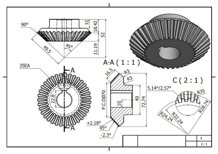 3D프린팅과 3D모델링 :: Bevel Gear - Inventor Part Design