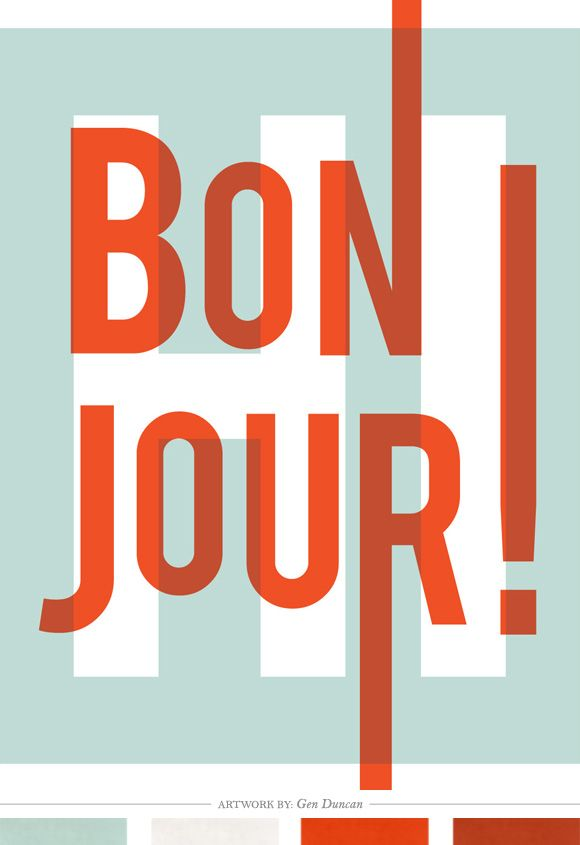Bonjour Hello Poster from Graphic Anthology