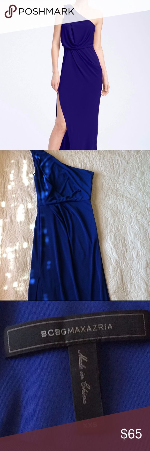 "BCBG One Shoulder Formal Dress Only worn once!  Beautiful royal blue one shoulder formal dress.  Made of jersey material and drapes beautifully.  In great condition. Great for proms, homecoming, formal weddings, or balls. Size is XXS  but fits bust 34"" waist 27"" hips 36"" BCBGMaxAzria Dresses One Shoulder"