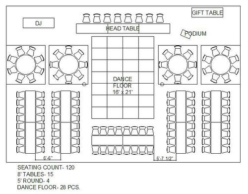 Rectangle and circle wedding reception floor plan maybe for Wedding table design tool