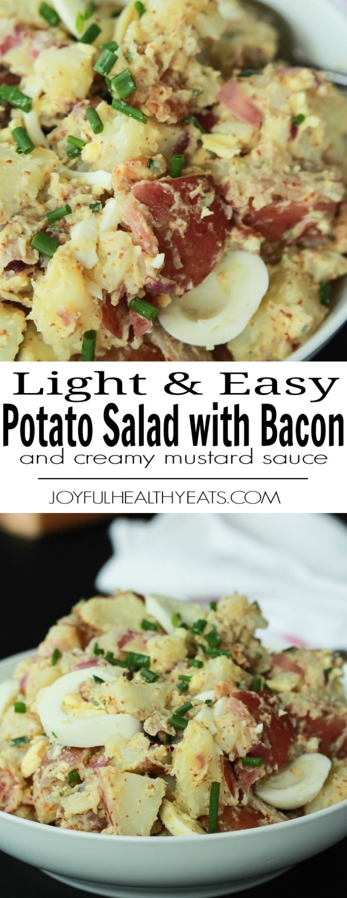 A Light & Easy Potato Salad with a Creamy Mustard Sauce using greek yogurt. Filled with bacon goodness, fresh chives, and hardboiled eggs - a low calorie dish with the same great taste! |joyfulhealthyeats.com #glutenfree