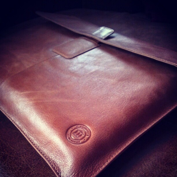 Golden tan notebook sleeve by @Anson Low on Instagram.
