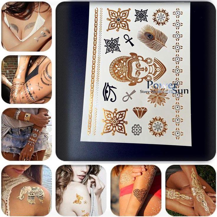 1 шт. горячая водонепроницаемый флэш-тату бумаги таиланд буддийские дизайн, Золотой будда временные татуировки хна, Буддизм тату перо PUJ10