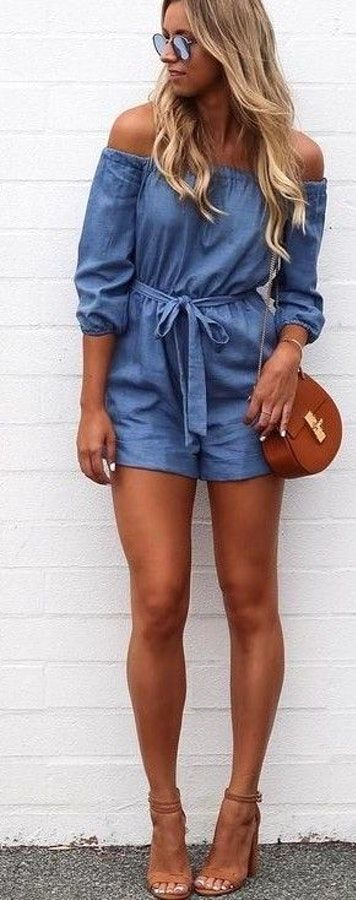 #summer #kookai #australia #outfits | Chambray Off The Shoulder Playsuit